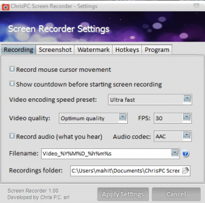 ChrisPC Screen Recorder Pro s5